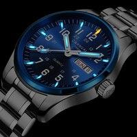 Military Sports Tritium Luminous Waterproof Quartz Men Watch Full Steel Genuine Leather Strap Luxury Brand Fashion