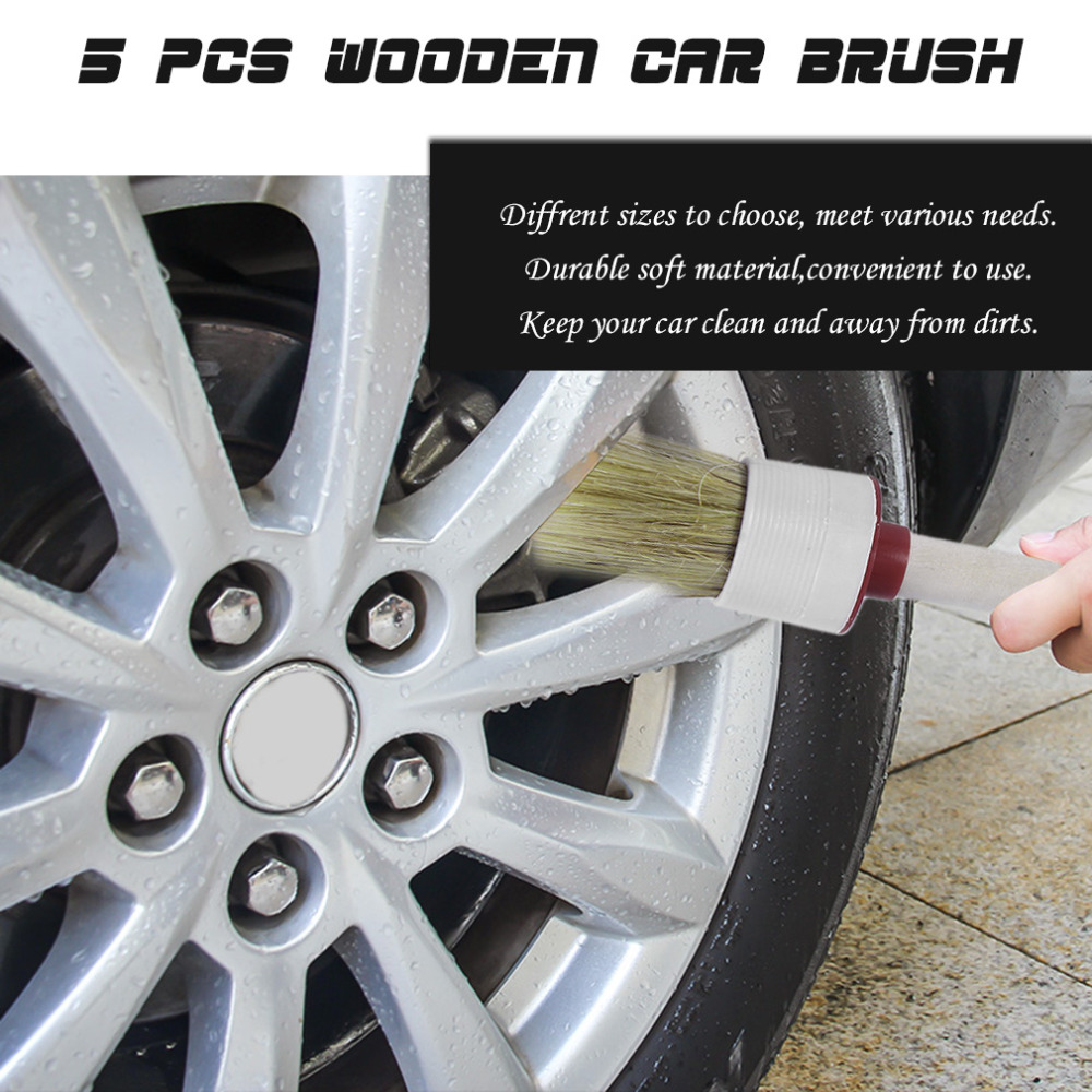 5PCS/LOT Wood Handle Car Brush Vehicle Cleaning Tools Interior Emblems Air Vent Detailing Brush NO LOGO Plug Panel
