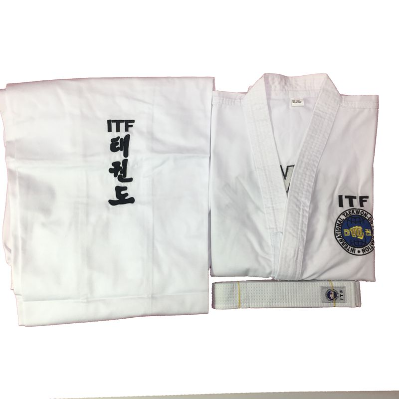 ITF Taekwondo Uniform Adult Child Dobok Exquisite Embroidery Clothing Kids Martial Arts Suit Size 100cm 190cm