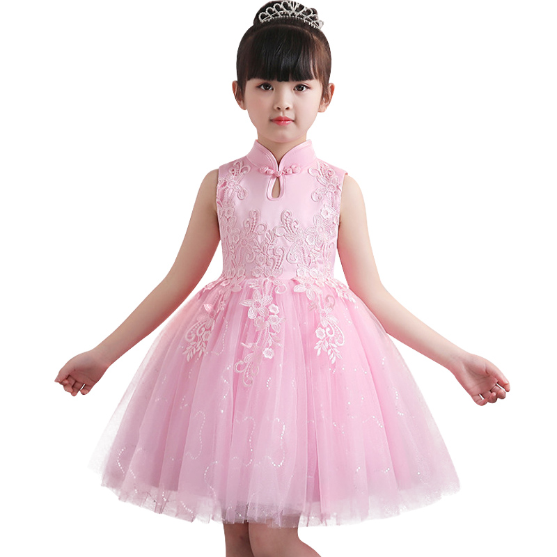 Stand collar evening   dress   children clothing   flower     girl     dress   for wedding clothes first communion princess   dress   baby costume