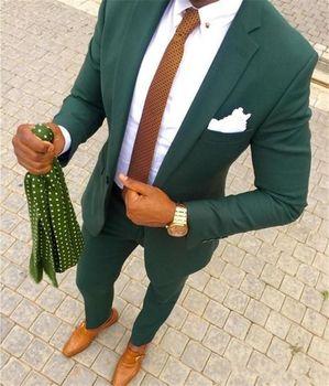 Handsome Style One Button dark green Groom Tuxedos Notch Lapel Groomsmen Best Man Mens Wedding Suit (Jacket+Pants+Tie) W:334