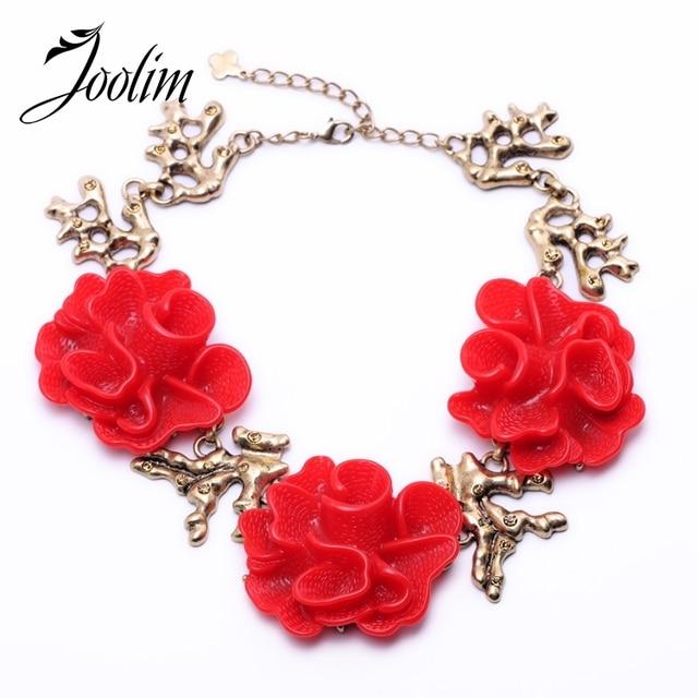 Joolim Jewelry Wholesale Red White Flower Statement Necklace Women