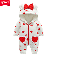 IYEAL Newest Baby Rompers Winter Baby Girls Clothes Cute Hooded Soft Warm Fleece Newborn Toddler Overalls Kids Infant Jumpsuits