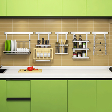 304 Stainless Steel Kitchen Rack Free Nail Kitchen Storage Shelf DIY Multifunction Holder Cross Tube Organizer