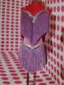 Мода Sexy Тонкий Женские Костюмы Фиолетовый Кисти Горный Хрусталь Платье Женщины Износ Сценическое Шоу Dj Певица Одежда Набор