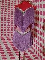 Fashion Sexy Slim Female Costumes Purple Tassels Rhinestone Dress Women Stage Performance Wear Show Dj Singer Clothing Set