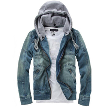 New Spring Men Brand Removable Hat Jeans Jacket 2016 Casual Mens Designer Jackets Hoodie Plus Size Clothing Coat Outerwear D13