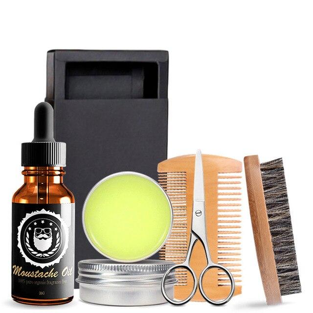 Men Beard Kits Grooming Beard Set 5pcs/set Beard Oil Moisturizing Wax Comb Essence Styling Scissors Hair Men Beard Sets 1