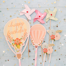 7pcs/set Hot Air Balloon Cake Topper Happy Birthday CupCake Decorations Kids Festivals Baby ShowerParty Supplies