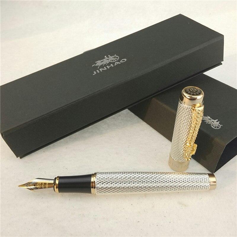 1pc/lot JINHAO 1200 Fountain Pen 2 Colors Gold/Silver Pen Caneta Jinhao Business Executive Luxury Pen School Supplies 14*1.4cm