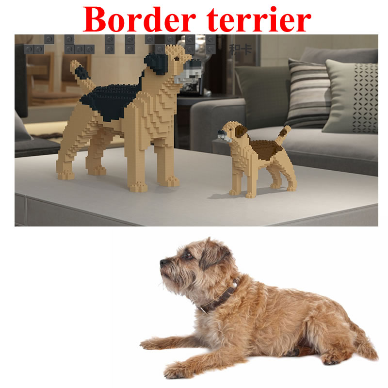 Jekca Stacking Blocks Border Terrier Assembled Toy Diy Model Dog
