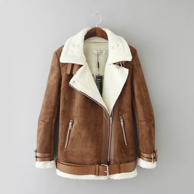 Images of Leather Shearling Coat - Reikian