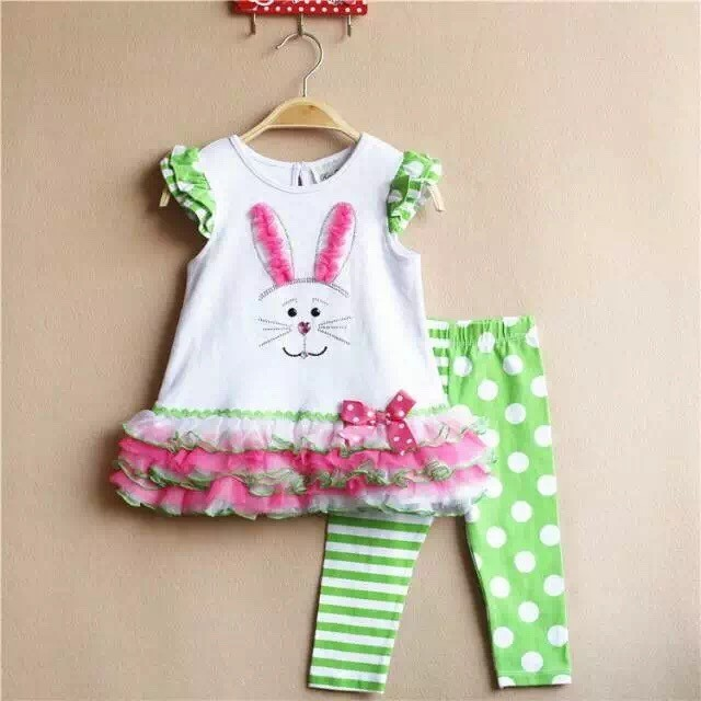 wholesale 6 Sets/lot 6M-3T Original Rare Editions Baby Girls Rabbit Cartoon Layers Tulles Decored Trim Shirt and Pants Outfit