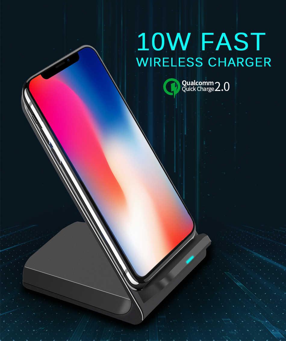 Qi Wireless Charger Pengisian Cepat 2.0 Cepat Pengisian H8 untuk iPhone 8 10 X Samsung S6 S7 S8 Huawei Nokia 2-Kumparan Telepon Berdiri