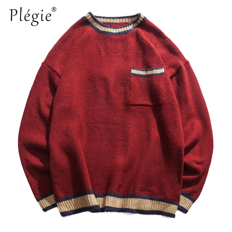 Plegie Embroidered Letter Color Block Pocket Sweaters Harajuku Men O-Neck Long Sleeve Sweaters Male 2018 Autumn Unisex Tops
