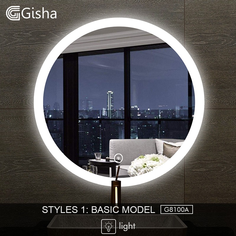 Home Improvement Bathroom Fixtures Gisha Smart Mirror Led Bathroom Mirror Wall Bathroom Mirror Bathroom Toilet Anti-fog Mirror With Touch Screen Bluetooth G8203