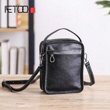 AETOO Oblique cross bag, female leather handmade small handbag, head layer cowhide Lady shoulder bag