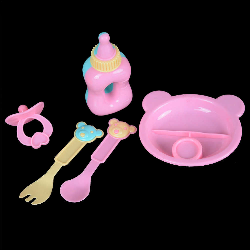 5pcs/set (milk Bottle+forks+nipple+Dinner Plate)Simulated Doll Tableware Four Sets For 43cm Baby doll  Doll Accessories