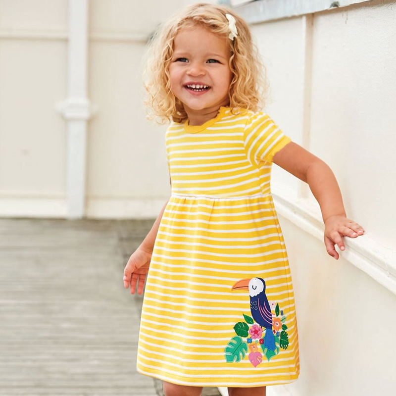 summer girl dress new fashion baby kids summer clothes cartoon stripes cotton dress for baby girl baby princess dress in Dresses from Mother Kids