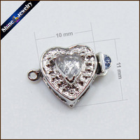 5 Pcs Lot Silver Plated Heart Shaped Toggle Clasp Lobster Clasps DIY Zircon Jewelry Hooks Pearl