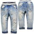 3753 0-3 anos da menina do menino calças jeans Crianças calças de brim do bebê não desbotamento à luz azul calças primavera outono da menina do menino do bebê macio fshion