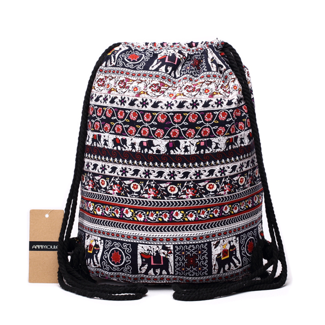 Women Backpacks Bohemian Style Bag Cotton Fabric Shoulder Vintage Aztec Backpack Double Zipper Drawstring Rucksack