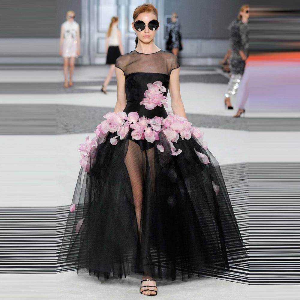 robe de mariage Fashion Sheer Pink Floral Tutu Ball Gowns Black ...