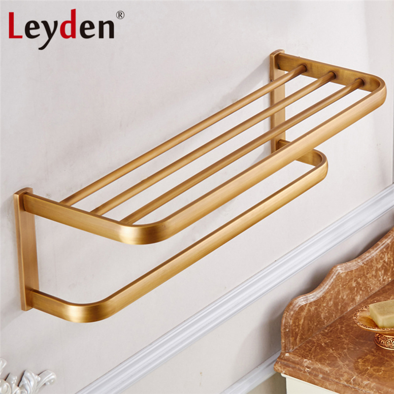 Leyden Modern Towel Shelf With Bar ORB/ Antique Brass/ Gold/ Chrome ...