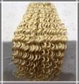 #613 bleach blonde grado 6a sin procesar virginal mongol del pelo rizado rizado 100 g/pc armadura del pelo humano lía al por mayor