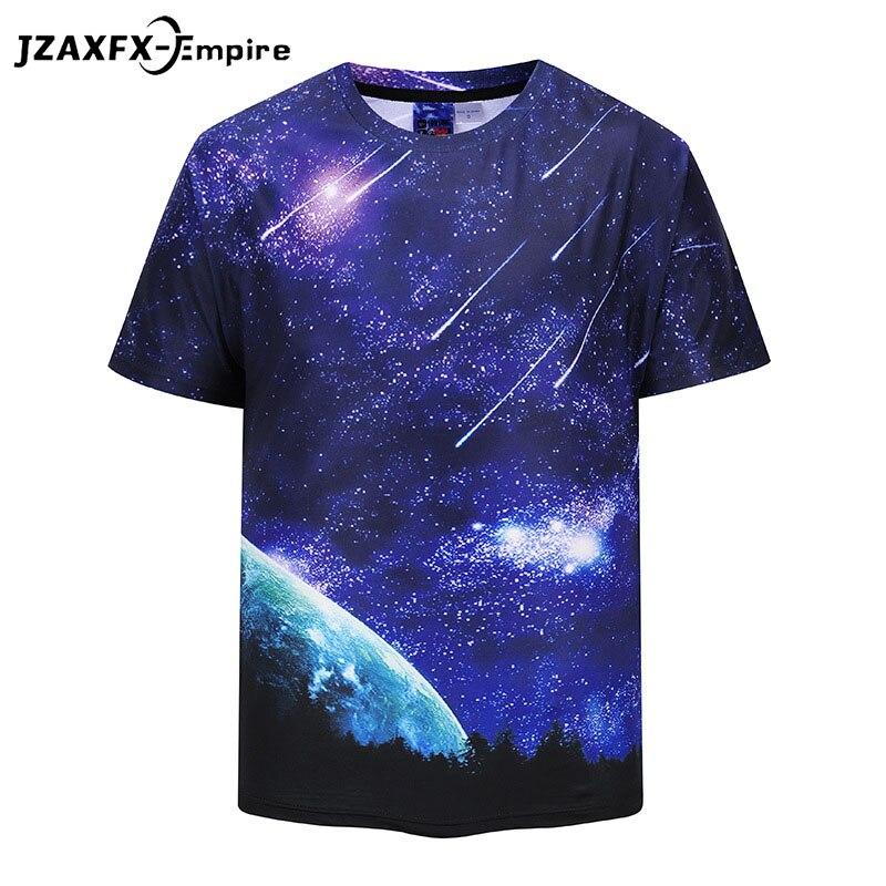 2018 новые европейские Размеры Harajuku метеорный поток 3D принтом крутая футболка Для мужчин/Для женщин короткий рукав лето Футболки футболка S-2XL