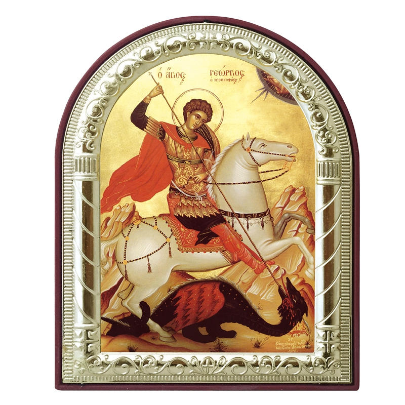 Russian orthodox icon saint George images plated silver metal gold on plastic frame baptism gifts decoration Religious Supplies