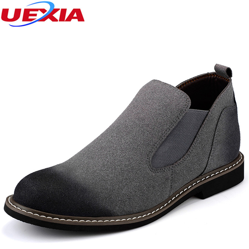 New Cow Suede Leather Shoes Casual Formal Slip On Rubber sole Flock Oxford Dress Business Short Ankle Martin Boots For Men Shoes цена 2016