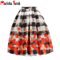 New Fashion Women 50s Vintage Scrawl Print High Waist Skirt Rockabilly Tutu Retro Puff Pleated Midi Skirts faldas jupe longue