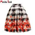 Nuevas Mujeres de La Moda 50 s Rockabilly Vintage Garabato Imprimir Cintura Alta Falda Del Tutú Retro Puff Plisado Midi Faldas faldas jupe longue