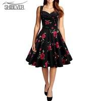 SHIBEVER Women Dresses Hot Sale Printing Summer Party Dress Classic Fashion Sleeveless Strapless Knee-length Dresses LD37