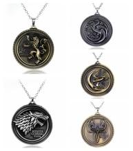 Game of Thrones Necklace Stark Family Lion Wolf Dragon Deer Lannister Targaryen Stark Baratheon Arryn Greyjoy Family Members цена