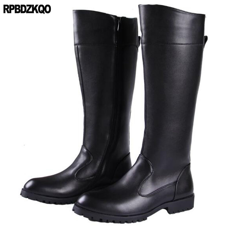 Plus Size Military Combat Waterproof Italian Shoes European Mens Winter Boots Warm Black Runway Fur Riding Mid Calf Chunky Army mens winter boots warm military mid calf durable army 2017 fashion combat motorcycle high top shoes lace up autumn black male
