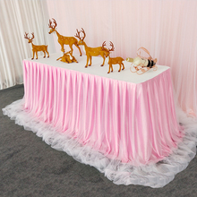 Handmade Silk Tablecloth Table Skirt Tulle Custom Tableware Fabric Wedding Birthday Party Decoration Home Textile