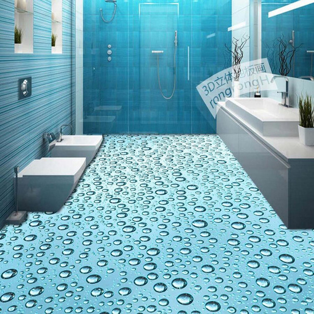 3d bathroom water floor paper wood floors for Bathroom 3d floor designs