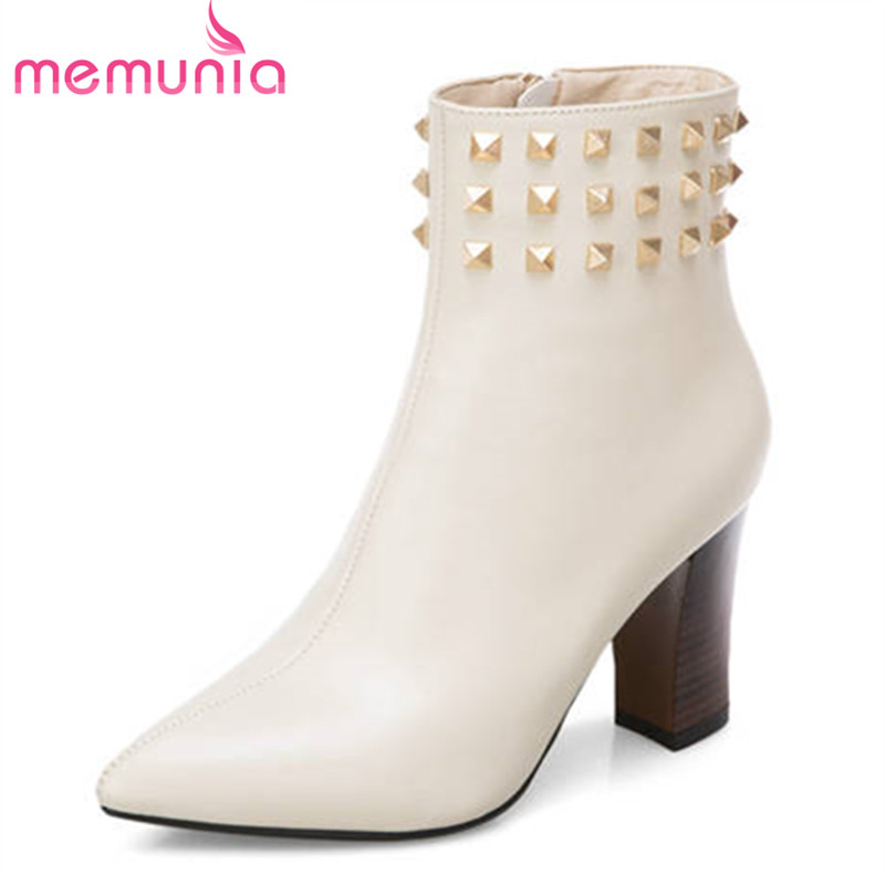 MEMUNIA 2018 ankle boots for women pointed toe zipper genuine leather boots rivet fashion high heels boots autumn winter shoesMEMUNIA 2018 ankle boots for women pointed toe zipper genuine leather boots rivet fashion high heels boots autumn winter shoes