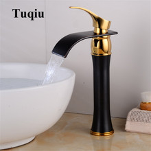 Basin Faucet Single Handle Black & Gold Brass Waterfall Basin Mixer Tap Hot & Cold Bathroom Faucets Sink Waterfall Faucet Drain faucets square style chrome brass bathroom faucet waterfall faucets single hole cold