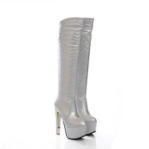 Image 3 - 2019 חדש 15cm סופר עקבים גבוהים נשים מגפי 6cm פלטפורמת הברך גבוהה מגפי גבירותיי שמלת מועדון ריקודים זהב כסף כחול