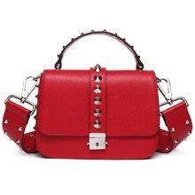 07f24058e5 2017 Autumn Wide Straps Rivet Design Women Shoulder Bag Genuine Leather  Ladies Messenger Bag Small Doctor