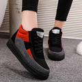 2017 Fashion Women Autumn Winter Casual Shoes Breathable Canvas Woman High Top Lace-up Casual Warm Cotton Short Boots