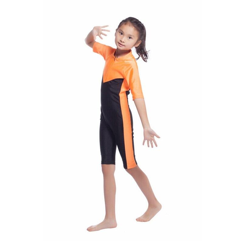 Schwimmen Sparsam Top Qualität Kinder Mädchen Islamischen Schnell Trockenen Swim Verschleiß Patchwork Badeanzüge Mit Reißverschluss Kinder Mädchen Einteiliges Muslimischen Bademode