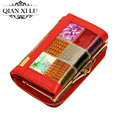 Brand high-end women's wallets multi-card bit purse  plaid  split leather women wallet  #134
