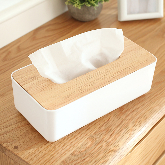 PP and wood tissue box paper towel oak fashion tissue cover modern