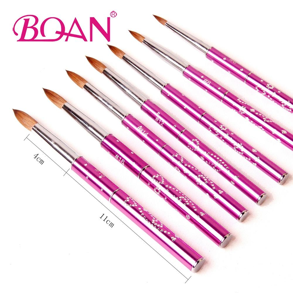 Image 3 - BQAN 10pcs #6#8#10#12#14#16#18 Kolinsky Sable Brush Acrylic Nail Art Brush Nail Art Brush Violet Metal Crystal Acrylic Brush-in Nail Brushes from Beauty & Health