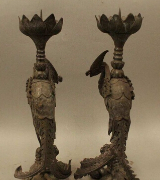 15  China bronce perro de Foo bola phoenix sostenedor de vela de aves Candlestic copper decoration bronze factory Pure Brass