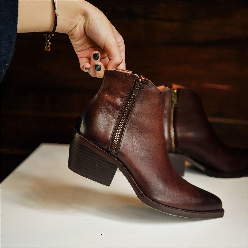 Модные черные женские сапоги из натуральной кожи с молнией спереди и круглым носком на высоком квадратном каблуке зимние высокие сапоги до ... - 3